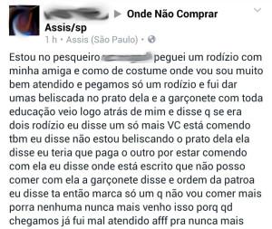 Jovem fez reclamação em rede social (Foto: Reprodução/Facebook)