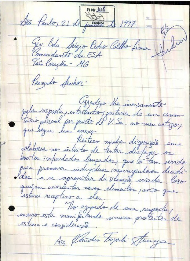 Carta de Cláudio Tsuyoshi Suenaga (Foto: Reprodução)
