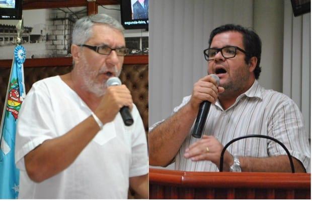 Vereadores Reinaldo Nunes (à esquerda) e Prof º Thiago (à direita)