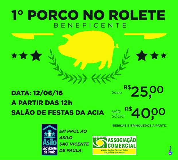 ACIA promove 1º Porco no Rolete Beneficente