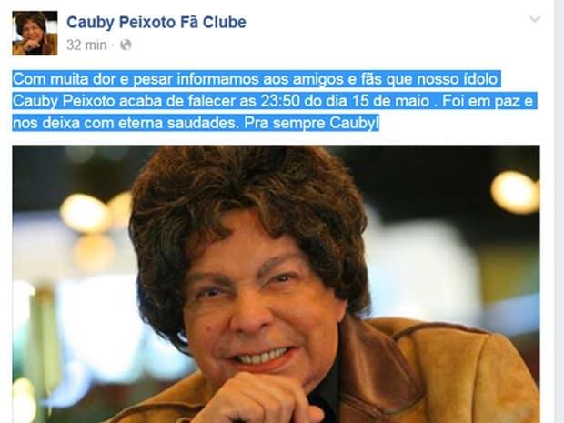 Fã-clube de Cauby lamentou a morte pelas redes sociais (Foto: Reprodução/ Facebook)