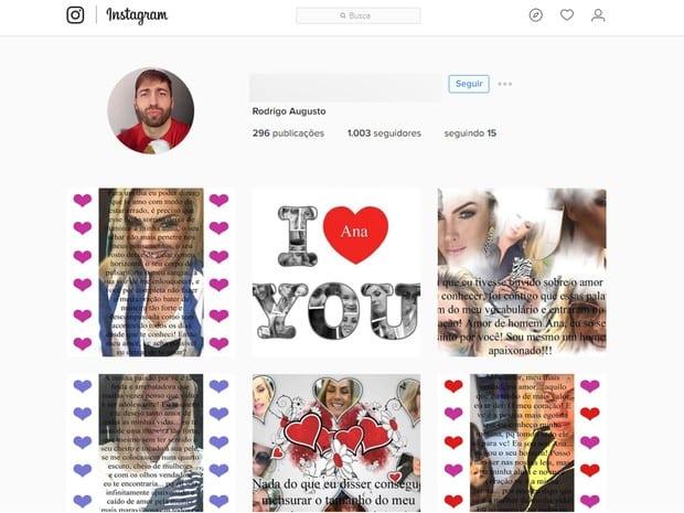 Fã Rodrigo Augusto, morto em Belo Horizonte, usava perfil no Instagram para declarar amor à apresentadora Ana Hickmann (Foto: Reprodução/Instagram)