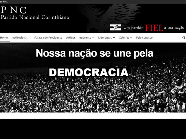 Página principal do site do Partido Nacional Corinthiano (Foto: Reprodução)