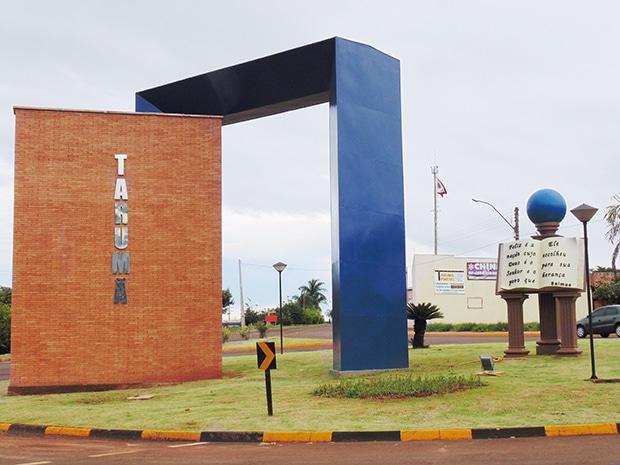 Portal de entrada de Tarumã (SP) (Foto: Diego Di Paula/AssisNews)
