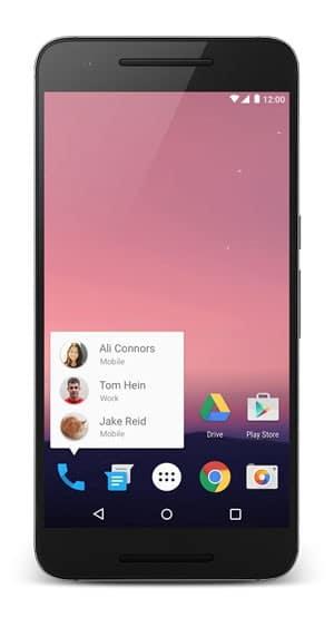 Android Nougat tem atalhos na tela inicial que levam para dentro de apps (Foto: Divulgação/ Google)