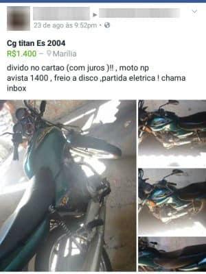 Menor anunciou moto furtada na web (Foto: Força Tática da Polícia Militar/Divulgação)