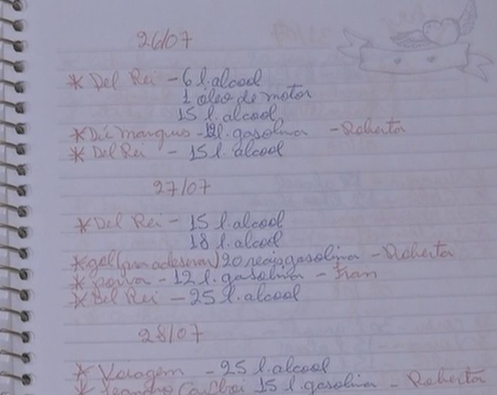 Caderno com anotações foi apreendido (Foto: Reprodução / TV TEM)