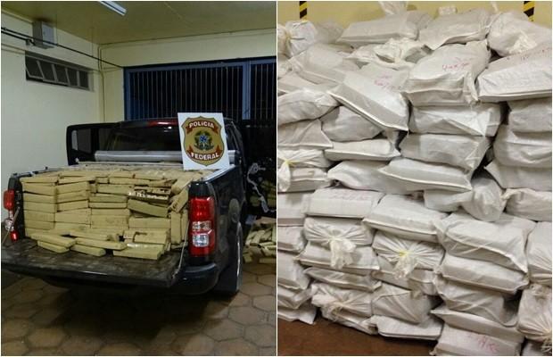 Parte da droga apreendida na operação 'Cavalo Doido'  (Foto: Divulgação/PF)
