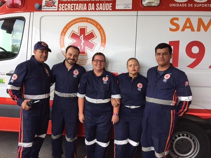 Equipe do Samu fez parto em Marília (Foto: Samu/Divulgação)