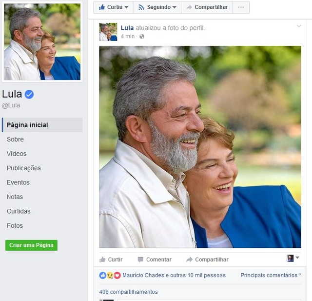 Lula muda foto de perfil no Facebook em homenagem a Dona Marisa (Foto: Reprodução/Facebook)