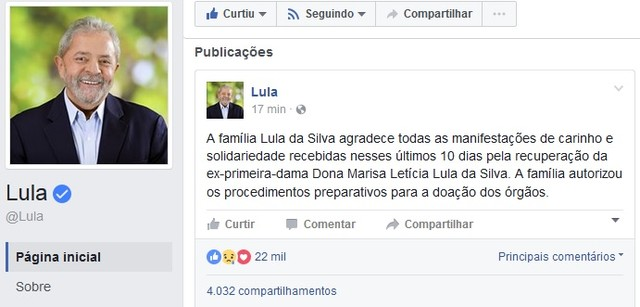 Post no Facebook do ex-presidente Lula sobre o estado de Dona Marisa (Foto: Facebook/Reprodução)